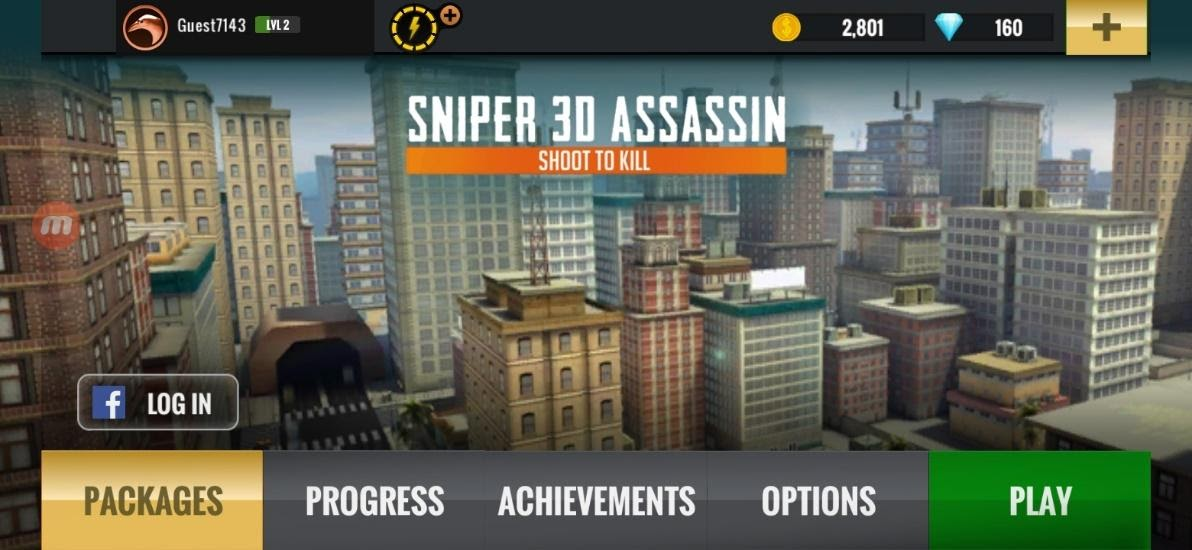 Sniper 3D main menu